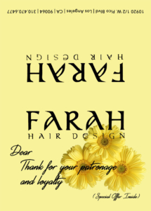 Farah Hair Design Thank You Card